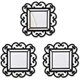 Bombay Curl Wall Mirrors, 15-Inch, Black, Set of 3