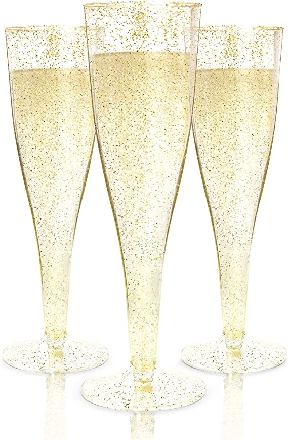 100 Plastic Champagne Flutes Disposable | Gold Glitter Plastic Champagne Glasses for Parties | Glitter Clear Plastic Cups | Plastic Toasting Glasses | Mimosa Glasses | Wedding Party Bulk Pack