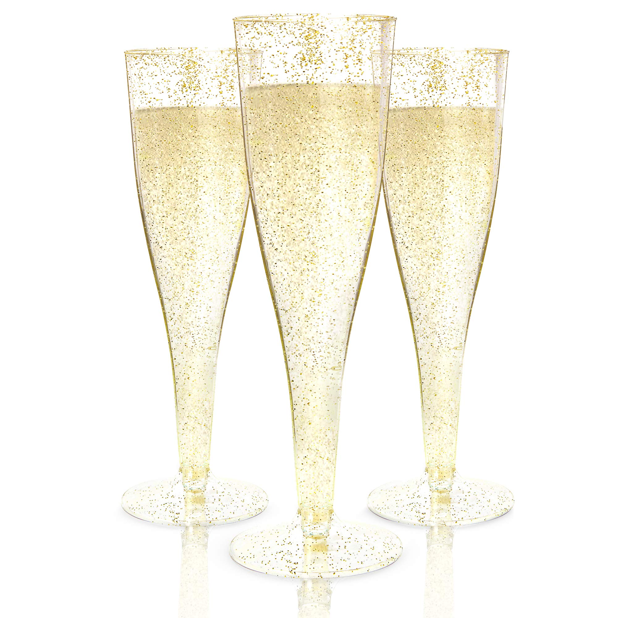 Plastic Champagne Flutes Disposable - 100 Pack | Gold Glitter Plastic Champagne Glasses for Parties | Glitter Clear Plastic Cups | Plastic Toasting Glasses | Mimosa Glasses | Wedding Party Bulk Pack by Prestee