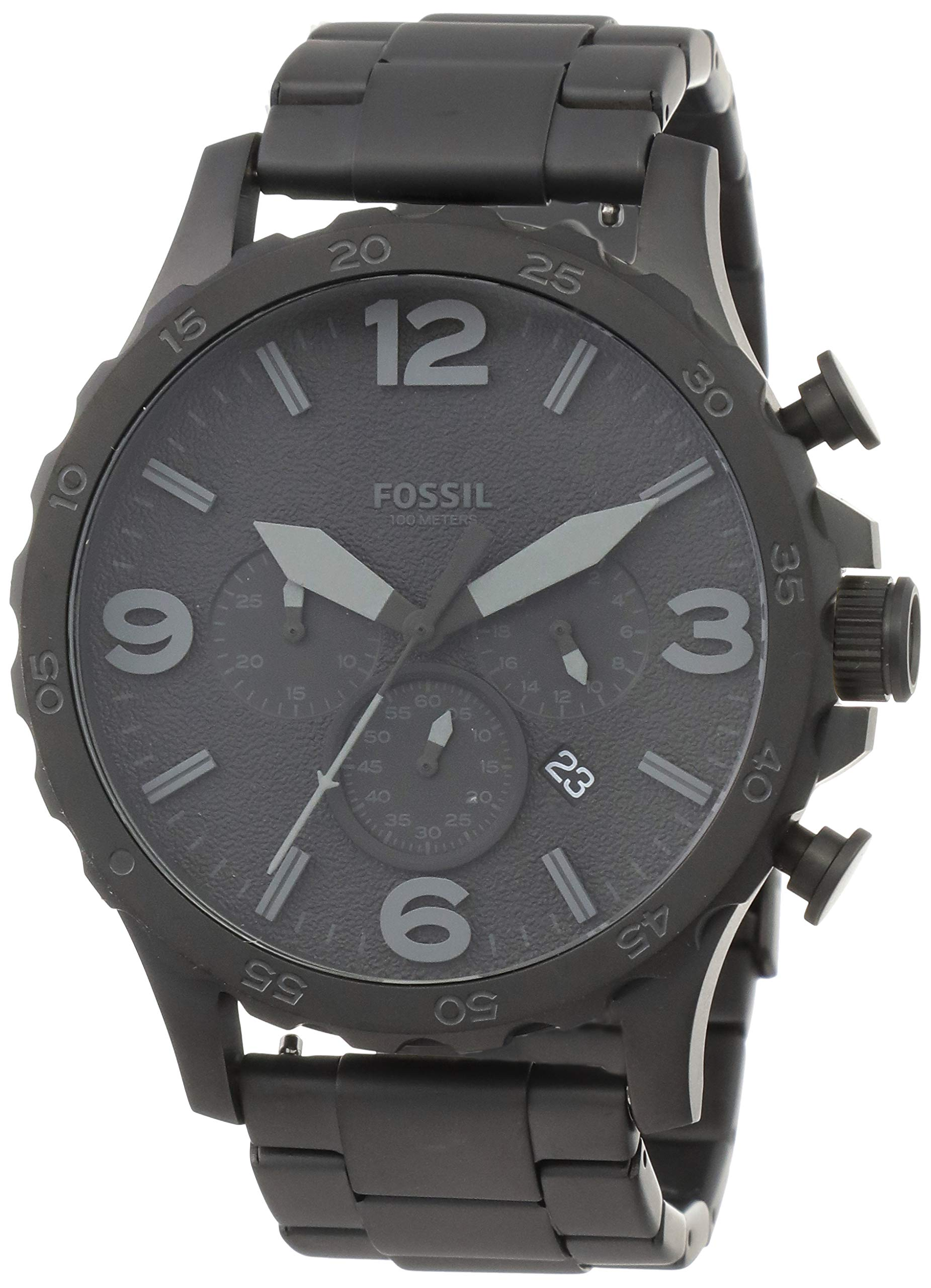 Fossil Men's Nate Quartz Stainless Steel Chronograph Watch, Color: Black (Model: JR1401) by Fossil (Image #1)