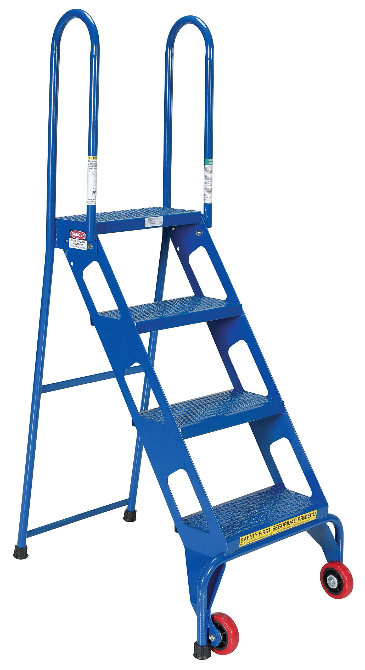 Vestil FLAD-4 Folding 4 Steps Ladder with Wheels, Carbon Steel, 350 lbs Capacity, 39-7/8'' Top Step Height