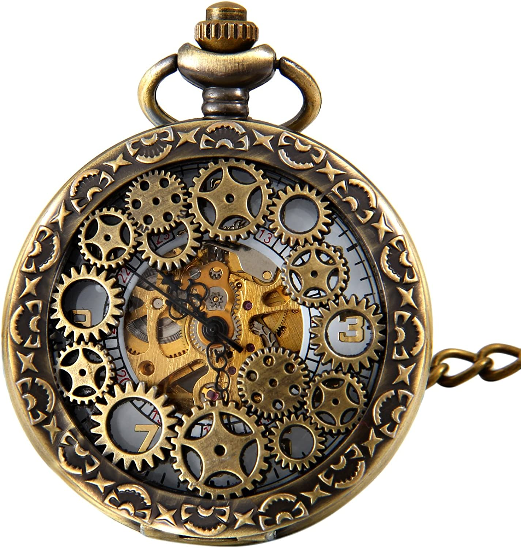 Engranaje retro de piñón de alto calado manual devanado, reloj de bolsillo mecánico, esqueleto de reloj, reloj para colgar con cadena de JewelryWe