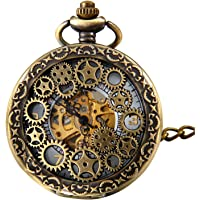 Engranaje retro de piñón de alto calado manual devanado, reloj de bolsillo mecánico, esqueleto de reloj, reloj para…