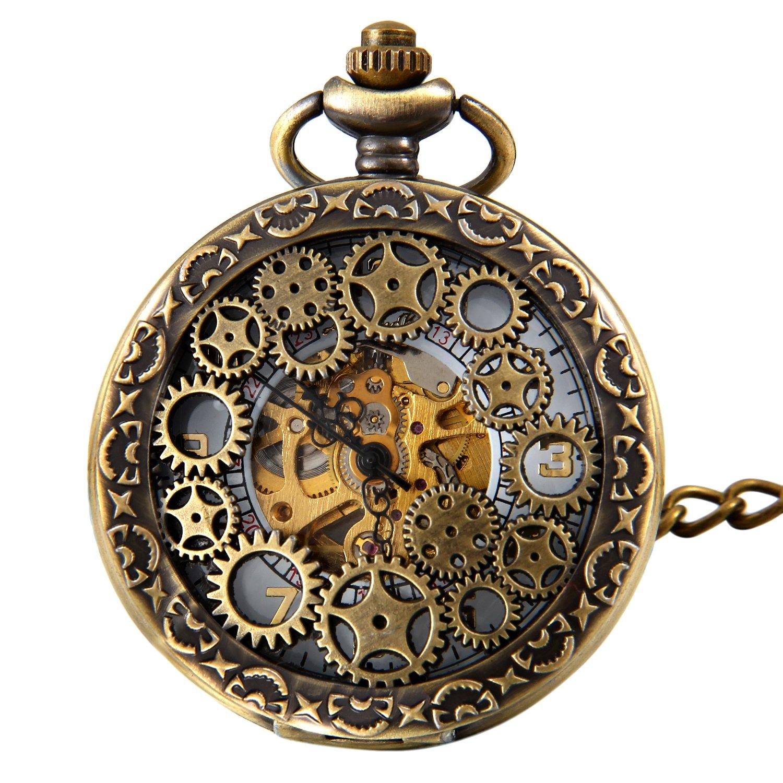 Steampunk taschenuhr  JewelryWe Retro Zahnrad Ritzel Hohe Openwork Handaufzug ...