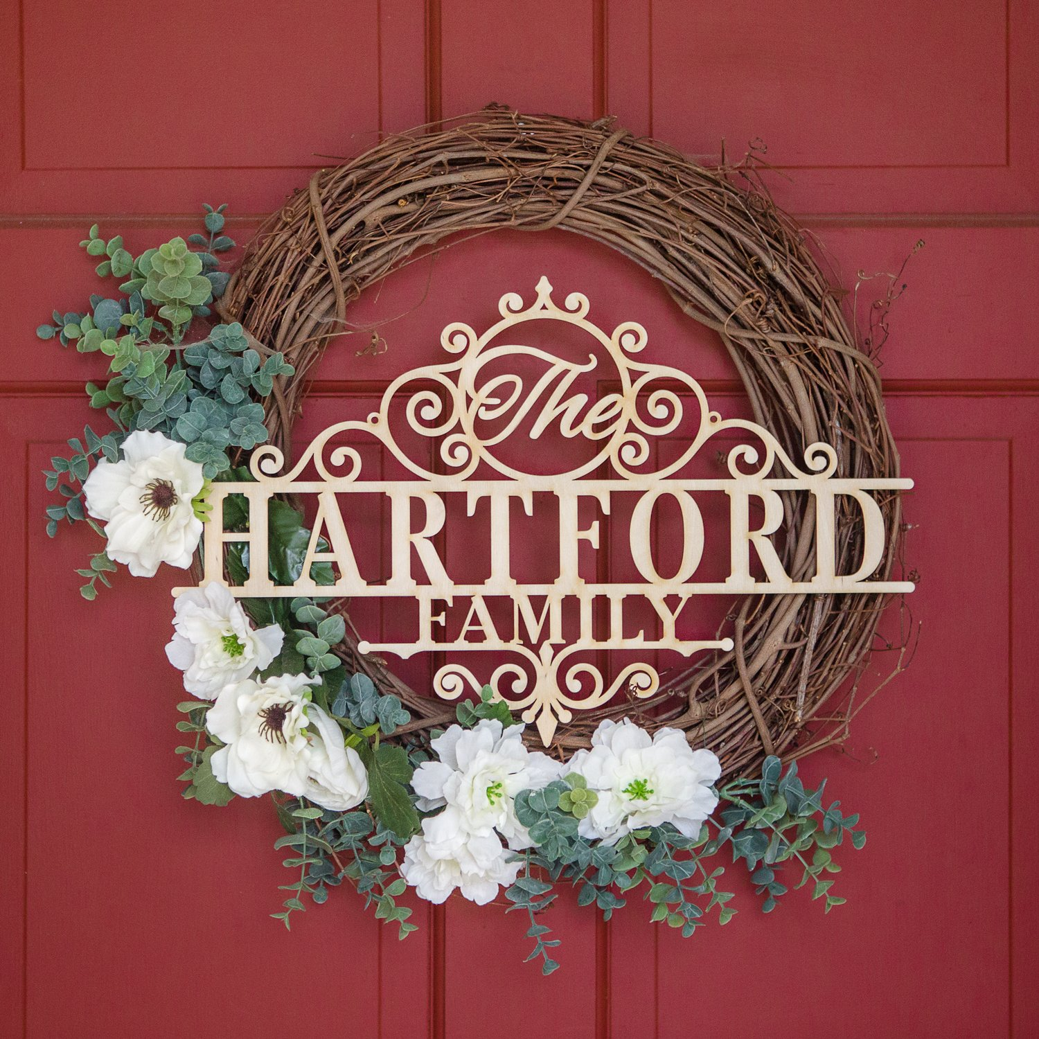 """Personalized Hartford Family Name Custom 1/8"""" Thick Wood Sign Home Décor Wall Art 18"""""""