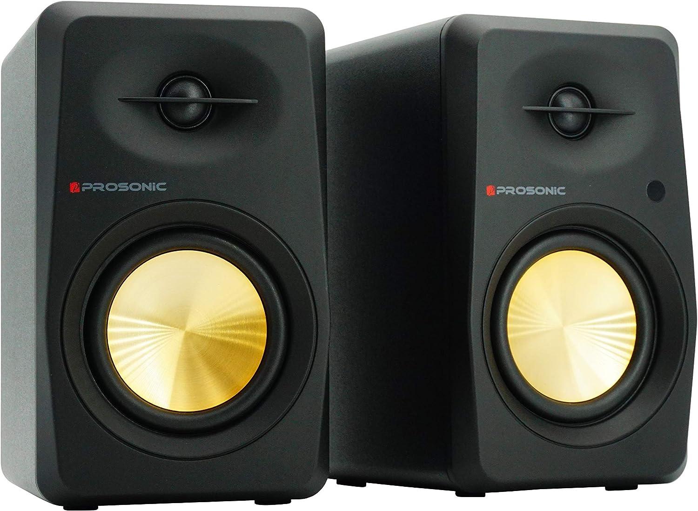 Prosonic Active Bluetooth Bookshelf Speaker Studio Monitor Home Theater, with Optical Input, Coaxial Input, 2X RCA Aux Line Input, 30 Watts x 2, (Black)