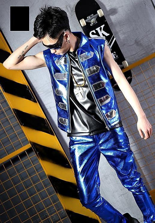 MOKEWEN Mens Zipper Gothic Military Waistcoat Fantasy Club Wear Dark Fashion Pants Suit Set