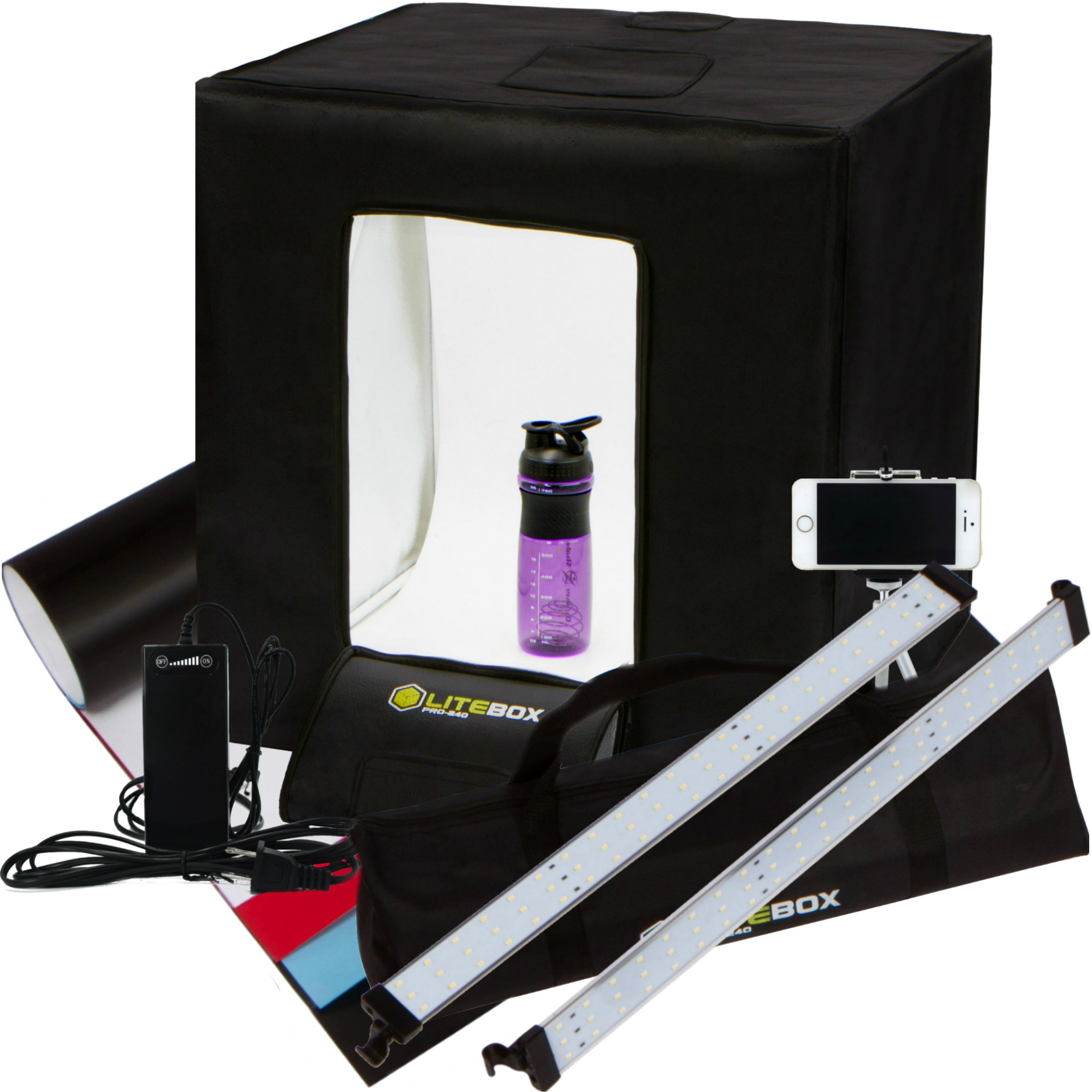 LITEBOX Pro-240: Large 24'' x 24'' LED Photo Studio Lighting Kit in a Box - 4 Seamless PVC Backdrops, Diffuser Panel (for Shiny Surfaces), Camera Tripod, & Travel Bag all included!