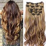 Lot de 7 extensions capillaires à clips Tête complète Cheveux ondulés Style ombré 56 cm