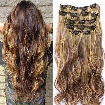 Extension per capelli, composta da 7 pezzi con fermagli integrati ...