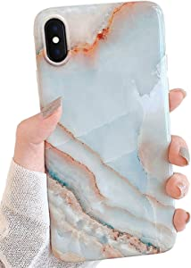 J.west iPhone Xs Max Case 6.5-inch, Luxury Grey Marble Design Graphics Stone Pattern Ultra Slim Thin Flexible Bumper Soft Rubber TPU Silicone Protective Phone Case Cover for Girls Womens Agate Slice