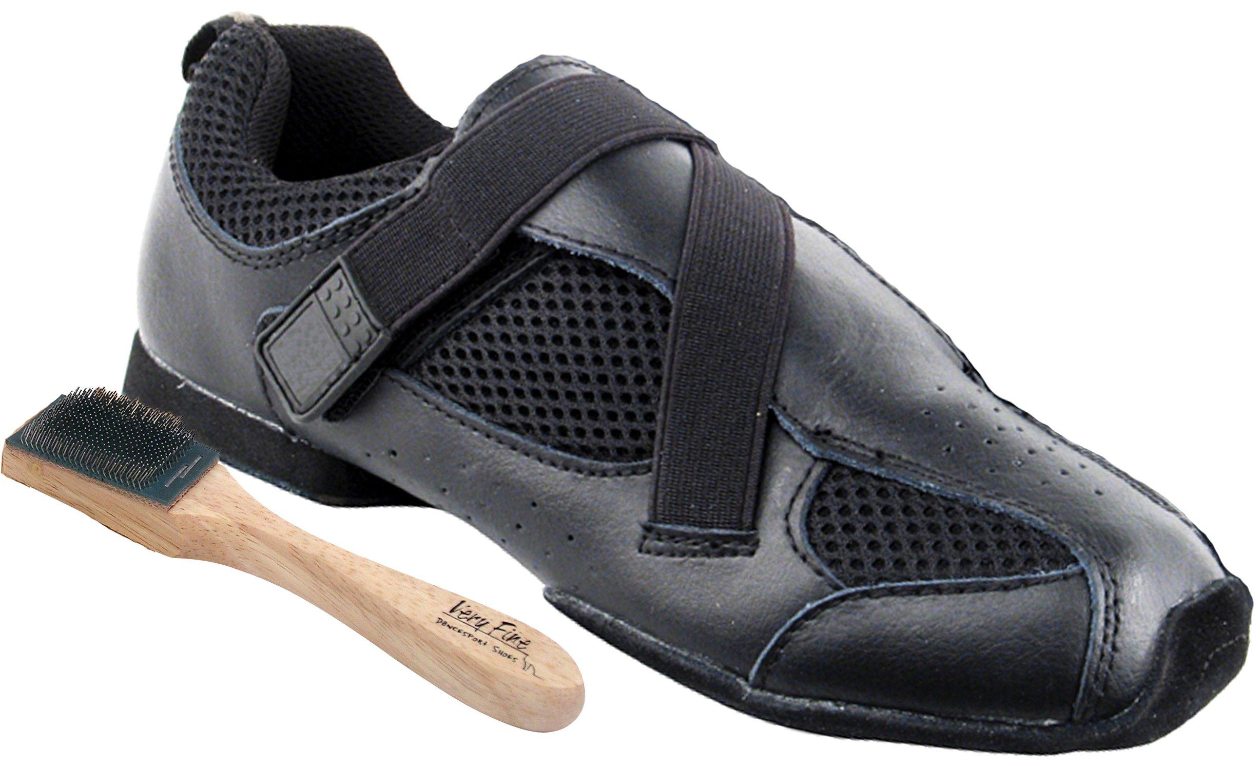 Very Fine Men's Women's Salsa Ballroom Latin Zumba Hip Hop Dance Sneakers Style VFSN009 Bundle with Dance Shoe Wire Brush, Black 12 M US (US Women 12/ US Men 10.5) by Very Fine Dance Shoes (Image #1)