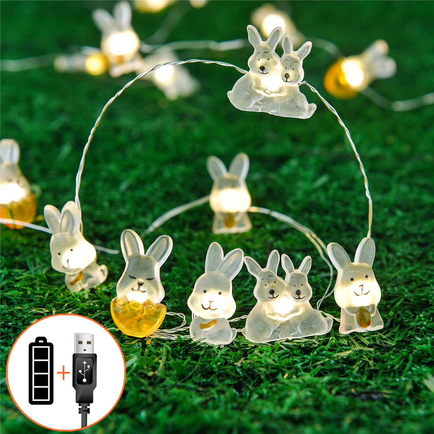Easter decorations decor easter bunny spring rabbit led lights string lights battery operated for indoor outdoor bedroom table centerpieces easter tree