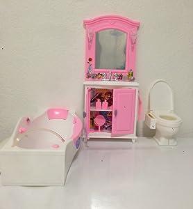 My Fancy Life Dollhouse Furniture- Bath Room with Bath Tub and Vanity