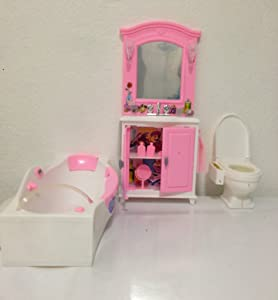 My Fancy Life Dollhouse Furniture- Bath Room with Bath Tub and Vanity