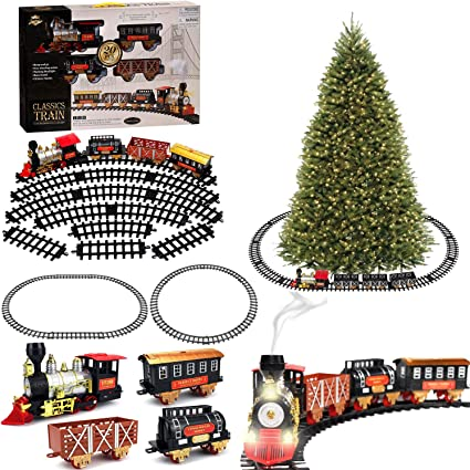 Large Classic Holiday Christmas Tree Train Set with Sounds Lights Smoke for Around Under The Christmas Tree