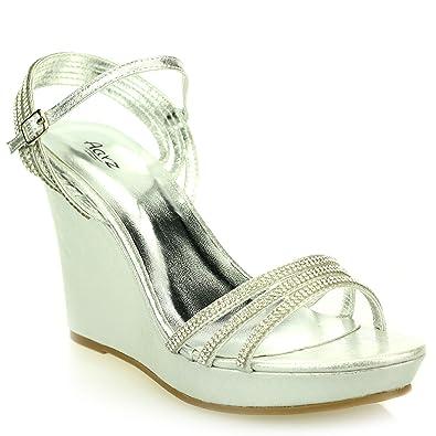 ff2de6a0c6697 Women Ladies Open Toe Ankle Strap Diamante Evening Wedding Party Prom  Bridal High Wedge Heel Silver