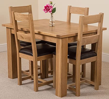 Hampton 120cm 160cm Oak Extending Dining Table And 4 Chairs Dining Set With Lincoln Ladder Back Chairs Amazon Co Uk Kitchen Home