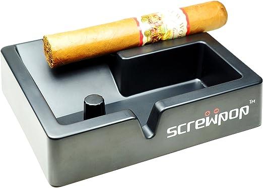 Heavy Duty Melamine Black Square 4 Cigar Cigarillo Indoor /& Outdoor Ashtray