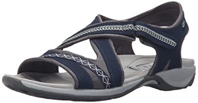 Dr. Scholl's Women's Panama Flat Sandal, Navy Leather, ...