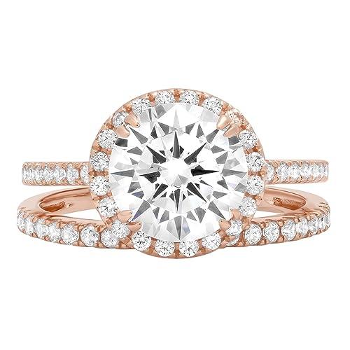 2,62 Ct Brilliant corte redondo Halo Bridal Compromiso declaración anillos de boda banda Set