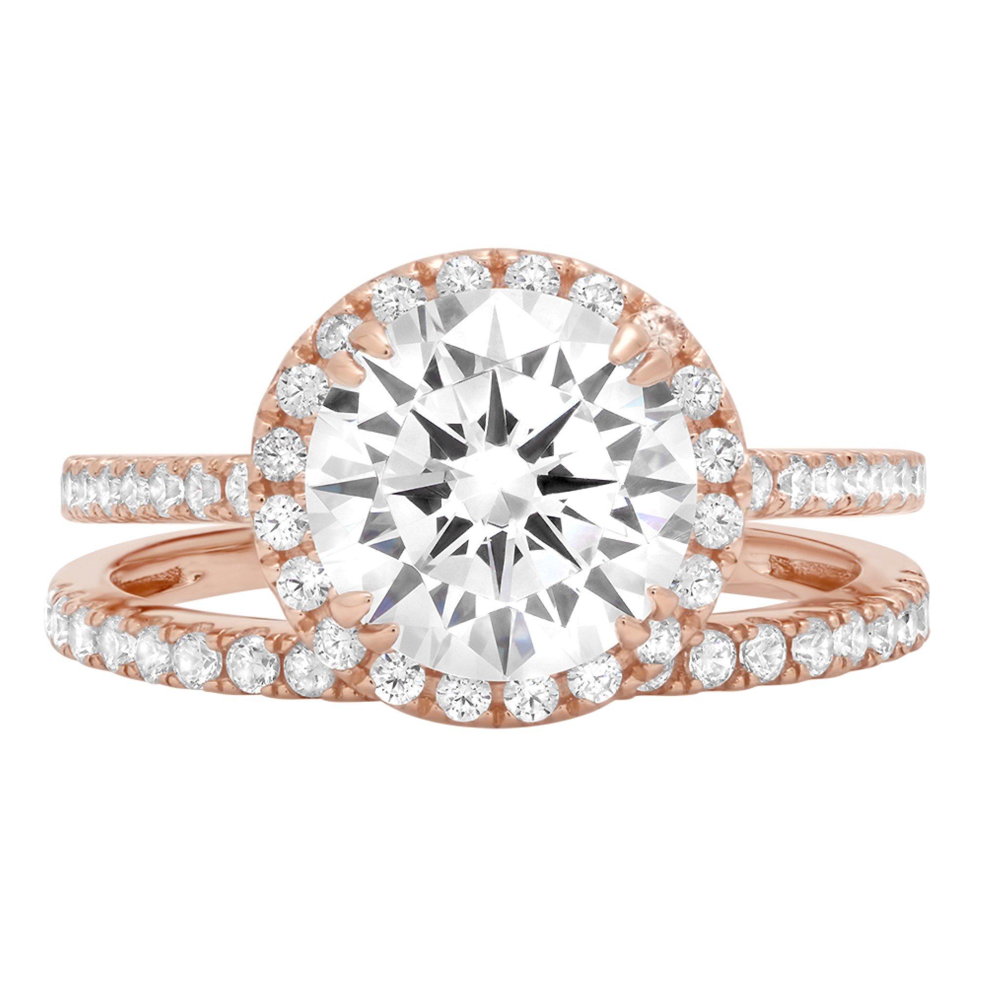 2.92ct Brilliant Round Cut Halo Bridal Engagement Statement Wedding Ring Band Set 14k Rose Gold, 10