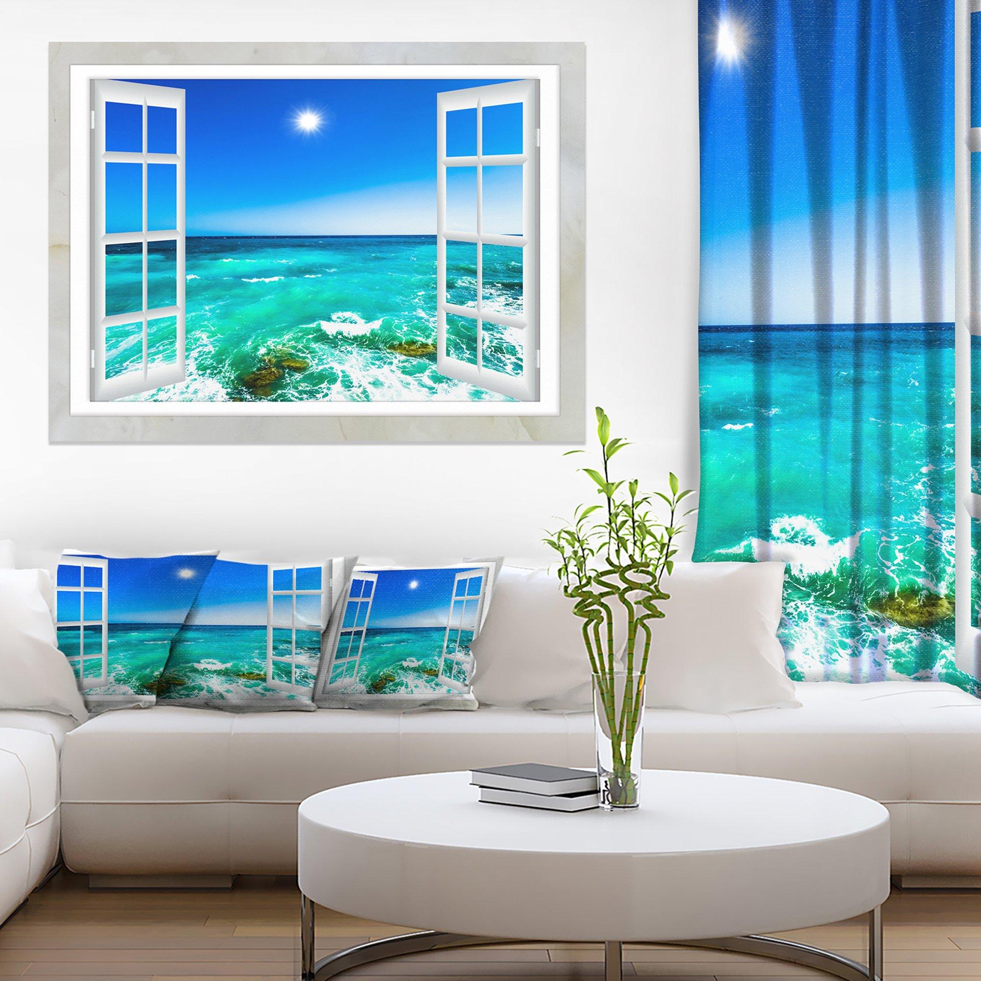 Open Window to Wavy Ocean Extra Large Seashore Canvas Art