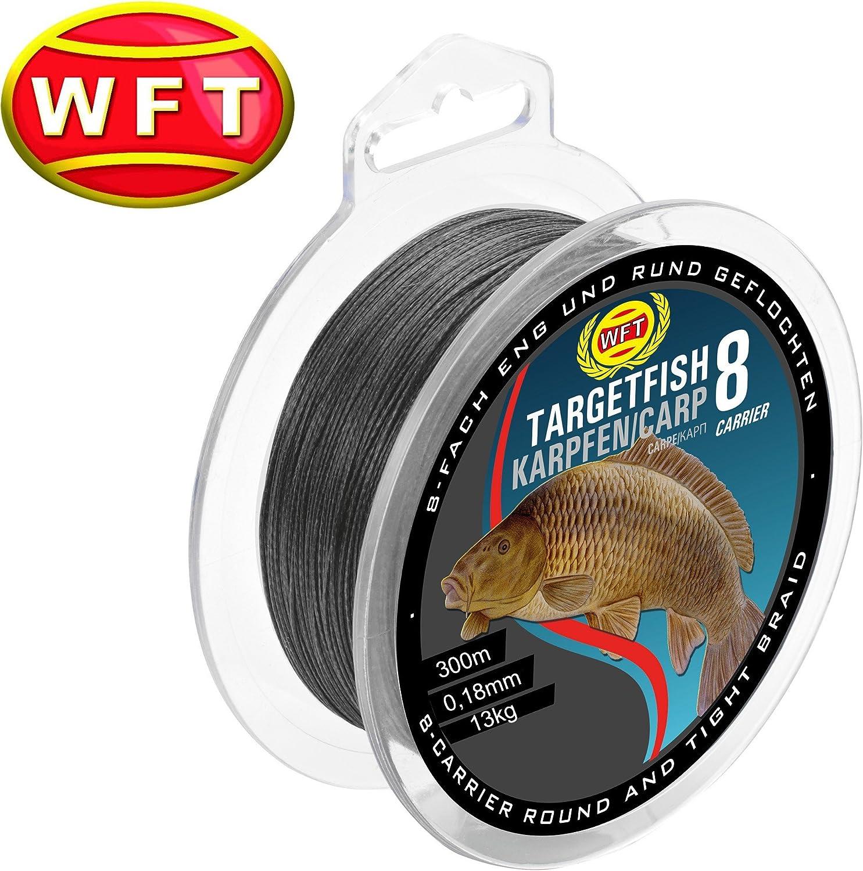 geflochtene Angelschnur zum Karpfenangeln Schnur f/ür Karpfen Karpfenschnur WFT TF8 Karpfen black 300m 0,18mm 13kg