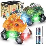 Magicfun Dinosaurio Coche, 2 Coches de Juguetes de Dinosaurios con Luces LED y Sonidos, T-Rex Dino Cars Monster Trucks…