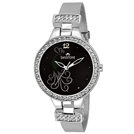 SWISSTONE Analogue Black Dial Women's Watch (Swss209-Blk-Ch) Women at amazon