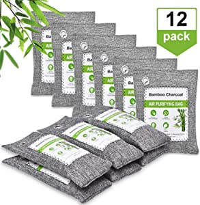 chappfier 12 Pack Nature Fresh Bamboo Charcoal Air Purifying Bag, Activated Charcoal Bags Odor Absorber, Air Freshener Charcoal Bags for Shoes, Home, Bathroom, Gym Bag, Pet, Car(6x150g, 6x50g)