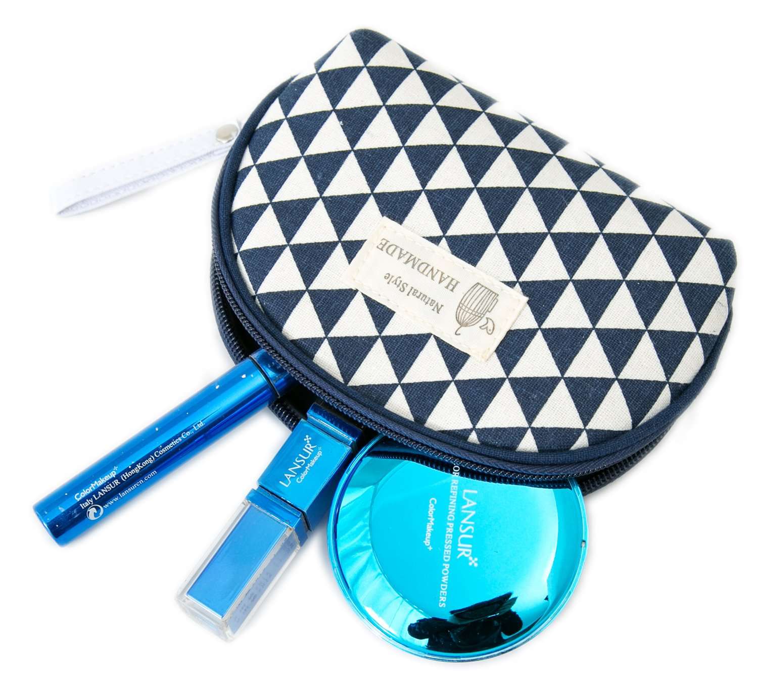 6523f9f88d0f Amazon.com   Zhoma 3 Piece Cosmetic Bag Set - Makeup Bags And Travel Case -  Blue   Beauty