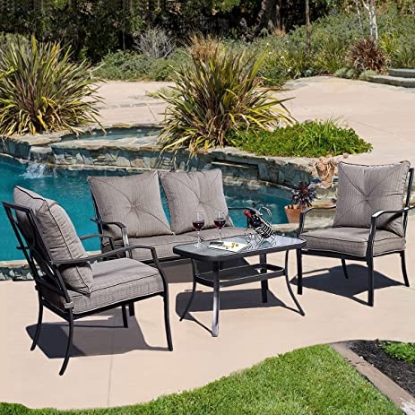 giantex 4 pcs steel frame patio furniture tea table chairs set outdoor garden pool - Garden Furniture Steel
