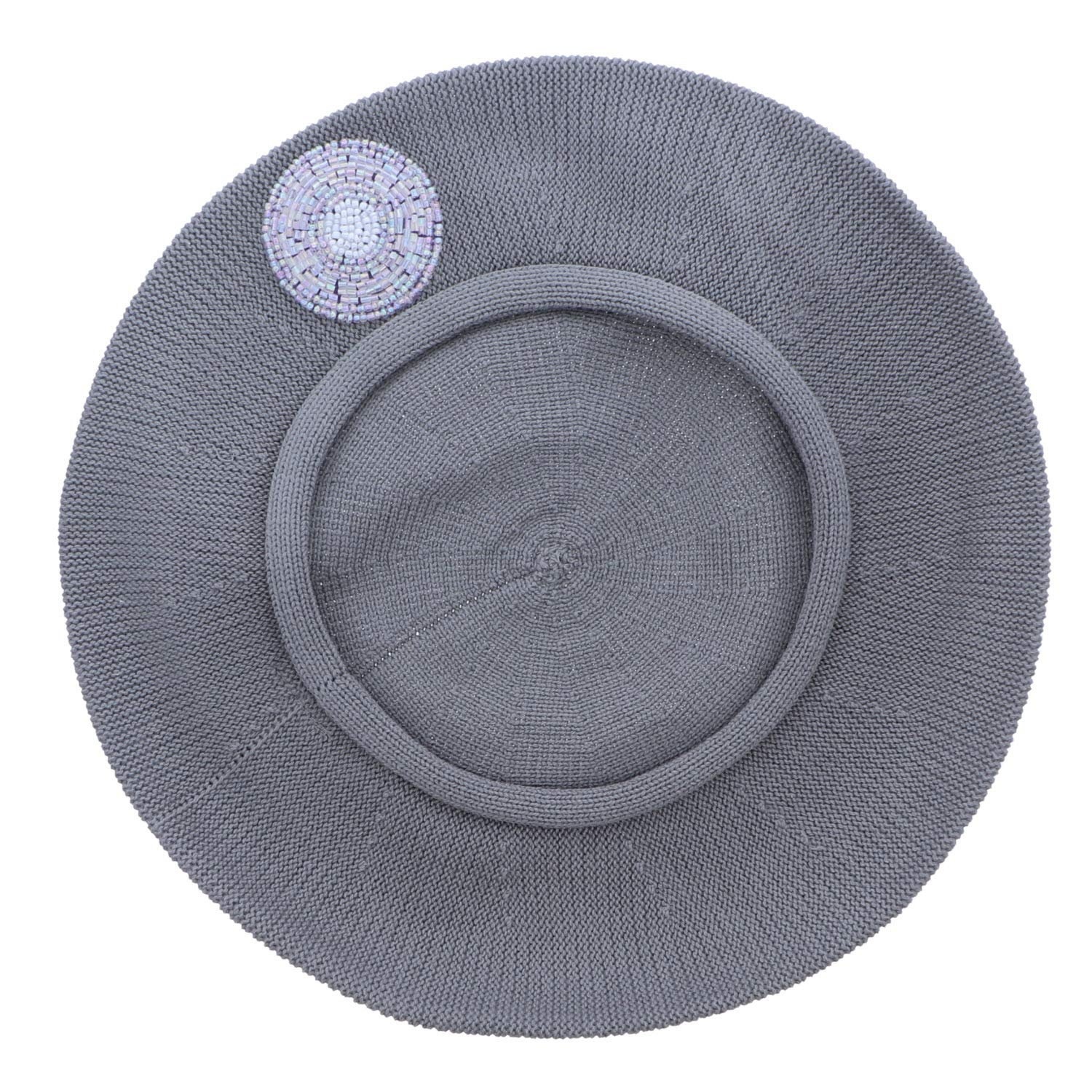 Beaded Lavender Circle on Beret for Women 100% Cotton-Grey