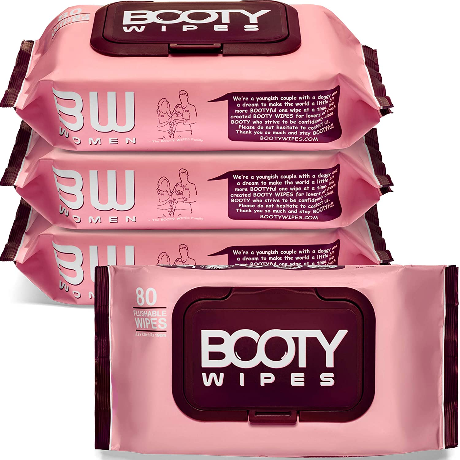 BOOTY WIPES for Women - 320 Flushable Wet Wipes for Adults, Feminine Wipes, pH Balanced (320 Wipes Total - 4 Flip-Top Packs of 80) Wipes for Women, Infused with Vitamin-E & Aloe