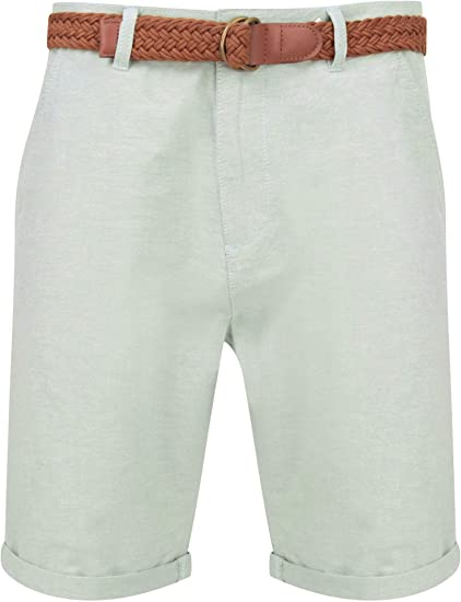 Pantalones cortos Tokyo Laundry de algodón con cinturón para hombre: Amazon.es: Ropa y accesorios