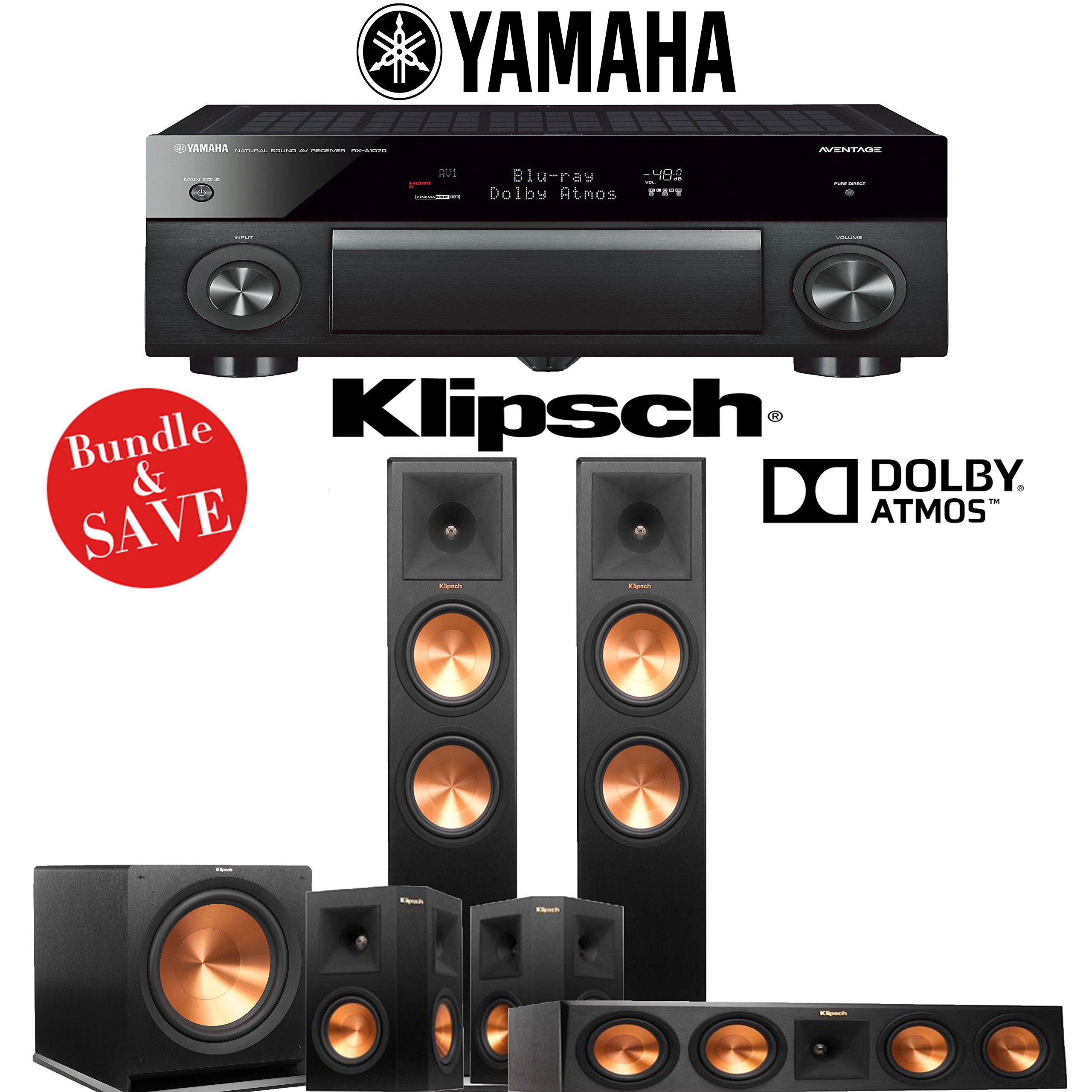 Klipsch RP-280FA 5.1-Ch Reference Premiere Dolby Atmos Home Theater System with Yamaha AVENTAGE RX-A1070BL 7.2-Channel Network AV Receiver