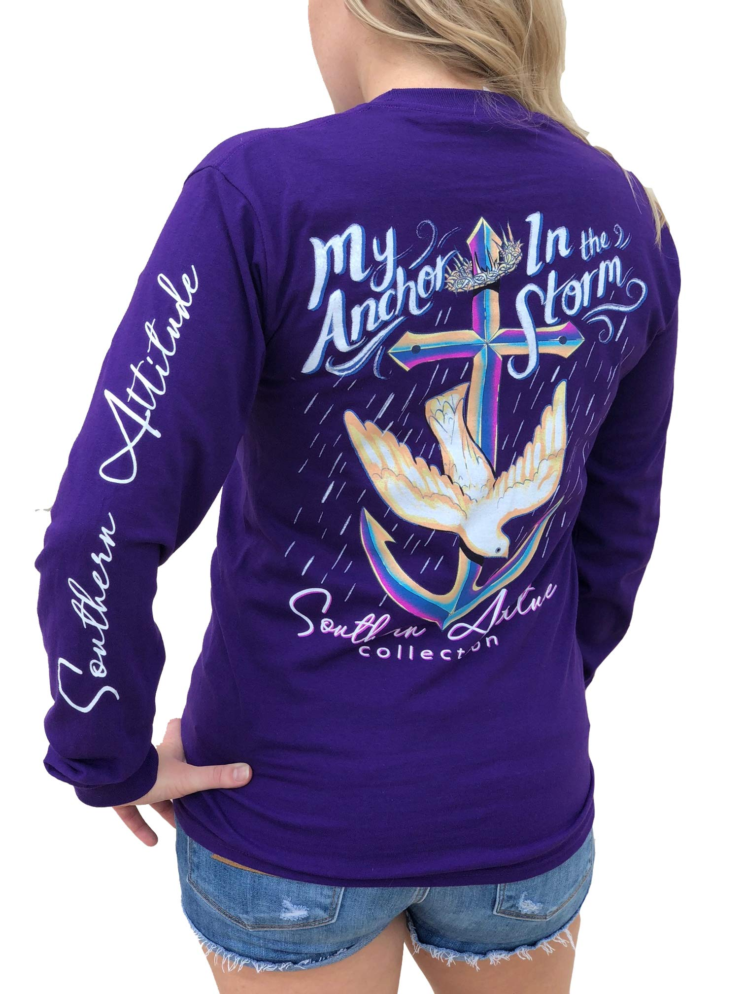 Southern Attitude My Anchor in The Storm Cross Anchor Purple Women's Long Sleeve Shirt