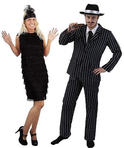 Couples 1920 S Gangster Flapper Girl Fancy Dress Costume