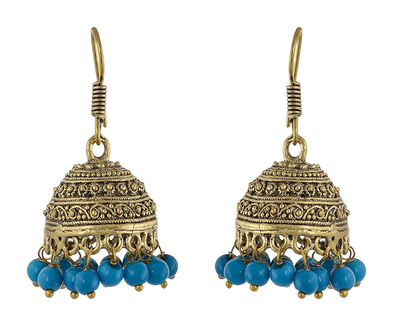 Subharpit Turquoise Beads Brass Metal Traditional Indian Jhumka Jhumki Earring for Woman /& Girls