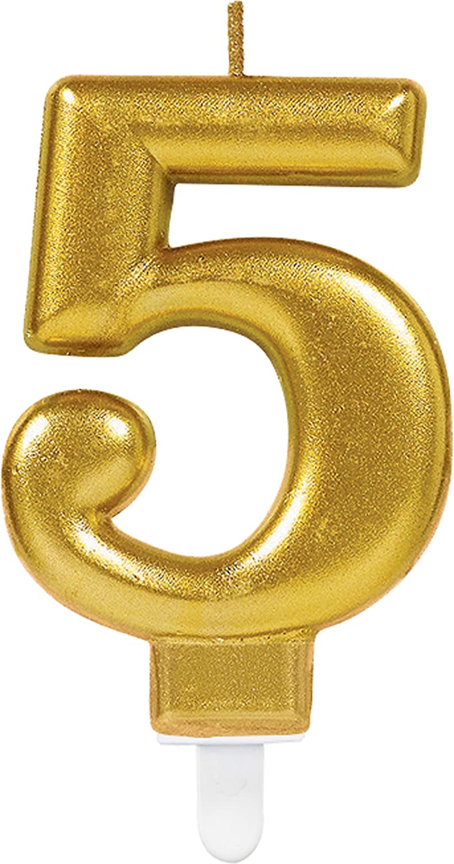 Carpeta Zahlenkerze Zahl 5 In Gold Mit Steckfuß Ca