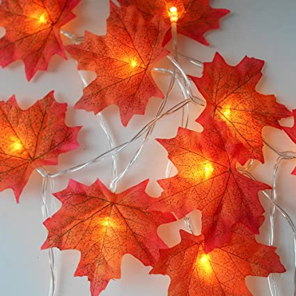 Light 10 LED Fall Maple Leaves Fairy String Light Autumn Leaf Lamp Garland Xmas Decor Fairy Lights