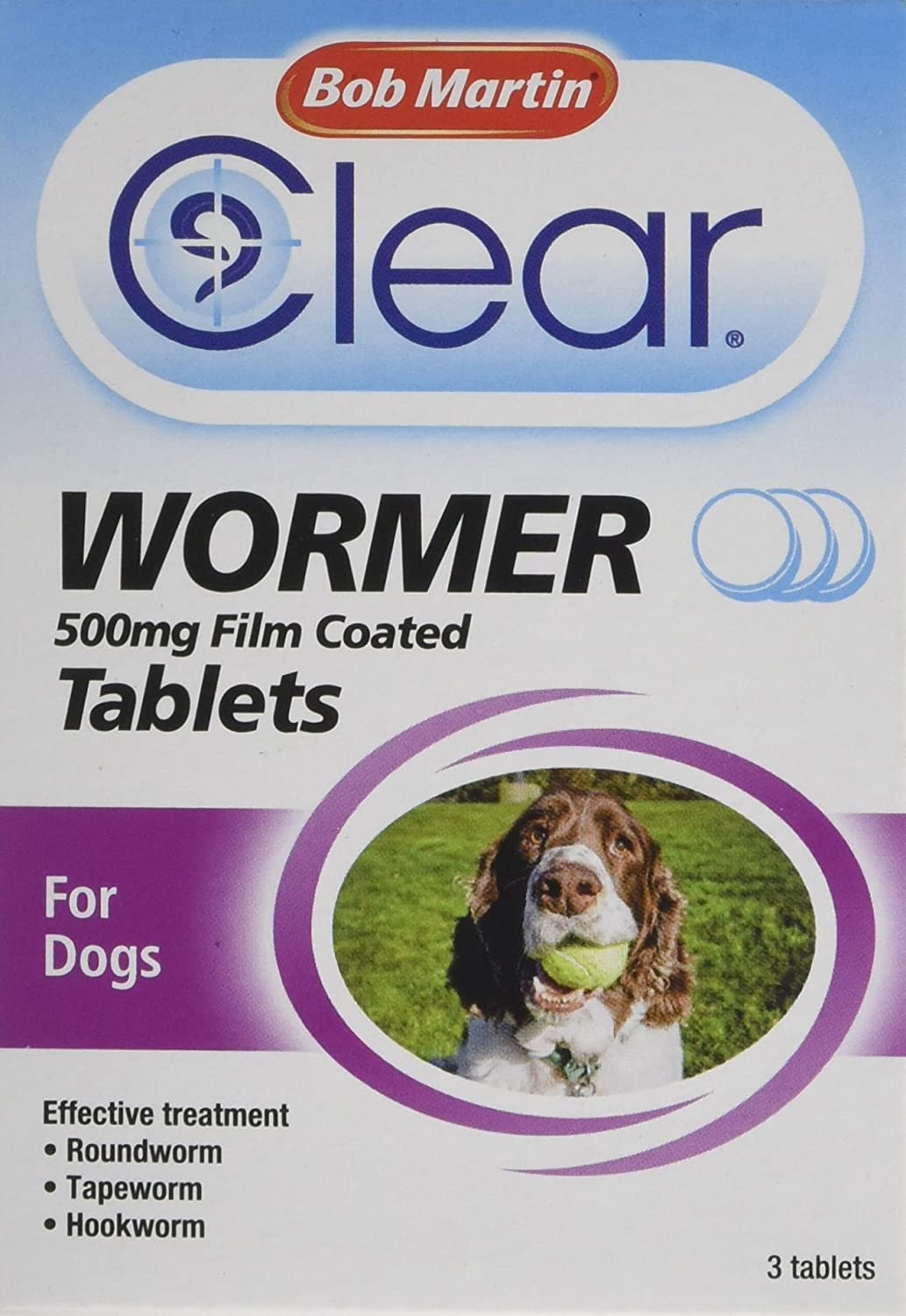 Bob Martin All In One Dewormer Tablets For Large Dogs, 500 Mg
