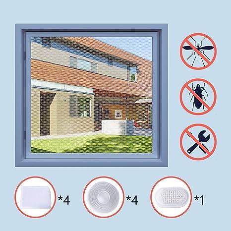 Homein Malla Mosquitera Adhesiva Mosquitera Para Ventanas 4 Unidades 1,3 m×1,5 m Tela de Mosquitera Contra Insectos y Mosquitos Fácil Instalar ...