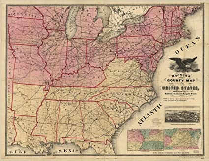 Amazon.com: 1862 Civil War map: United States Magnuss county of the ...