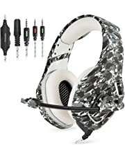 Gaming Headset Gaming Kopfhörer Camouflage für PS4 PC Xbox One, TedGem Stereo 3.5mm Noise Cancelling über Ohr Kopfhörer mit Mikrofon, Bass Surround, Soft Memory-Ohrenschützer, Lautstärkeregler