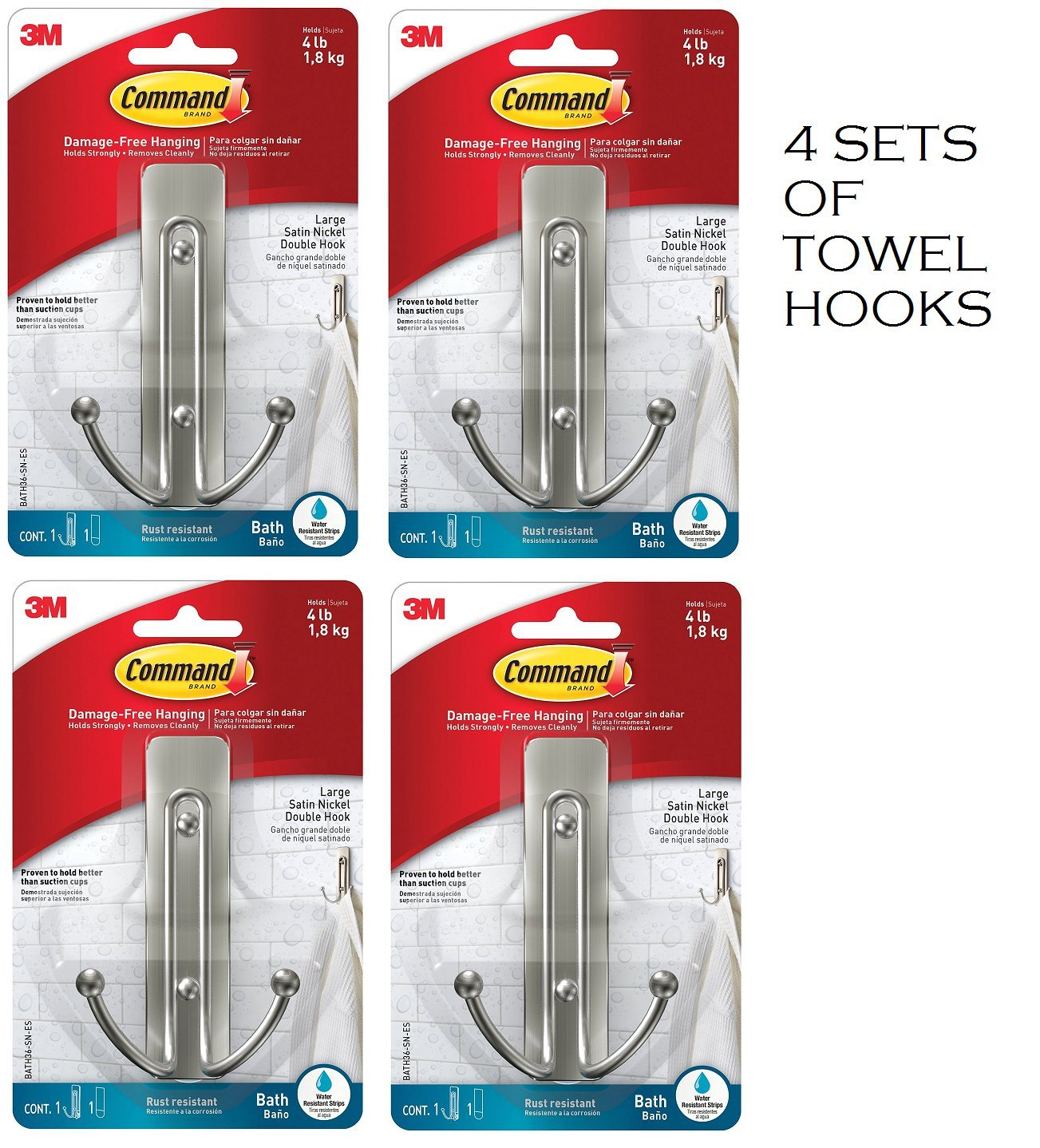 Command BATH36-SN-ES Large Double Bath Hook, Satin Nickel, 1-Hook, 1-Large Water-Resistant Strip (4-Per Set) by Command
