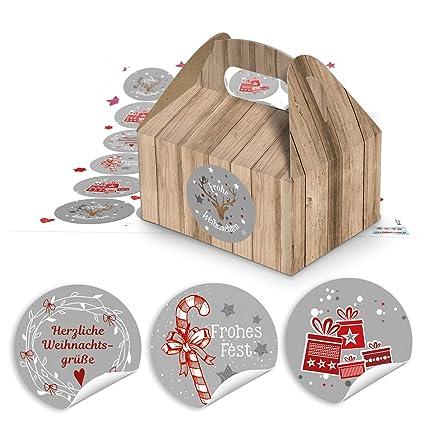 Geschenkkarton Weihnachten.48 Weihnachten Geschenkkarton Natur Braun Schachtel Geschenk Weihnachtlich 9 X 12 X 6 Cm 48 Rot Grau Weiss Weihnachtsaufkleber Verpackung