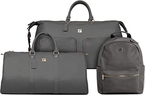 Packs Project – Executive Travel Bag Set 3 Piece Set Includes Weekender Tote, Duffel Bag, Backpack Airline Carry-On Luggage Approved Vegan Leather with Gold Metal Zippers, Grey