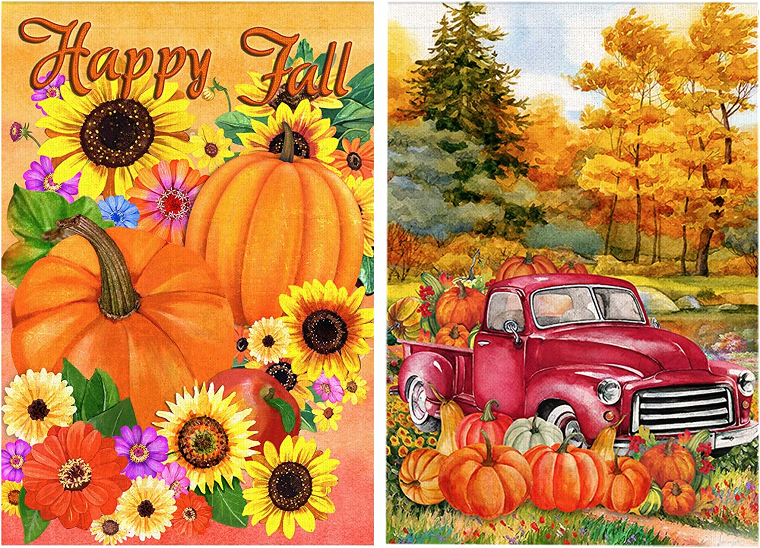 Bonsai Tree 2 Pack Fall Garden Flag, Double Sided Happy Fall Pumpkins Sunflowers Burlap House Flags 12x18 Prime, Autumn Leaves Harvest Farm Red Truck Welcome Yard Signs Farmhouse Home Outdoor Decor